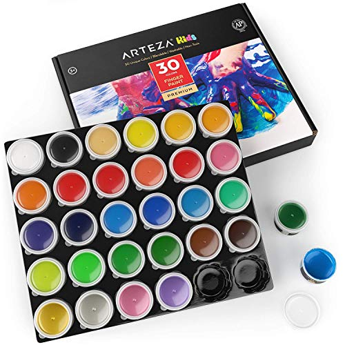 ARTEZA Finger Paints for Toddlers, Nontoxic, Set of 30 Colors, 1 fl oz Containers, Washable, Kids Art Set, for Paper, Canvas & DIY Projects