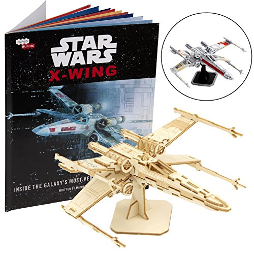 Star Wars X-Wing Book and 3D Wood Model Figure Kit - Build, Paint and Collect Your Own Wooden Movie Toy Model - Great for Kids and Adults, 12+ - 5