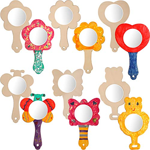 18 Pieces DIY Wood Mirror Craft Unfinished Handheld Mirror Mini Wooden Princess Mirror for Kids DIY Handmade Craft