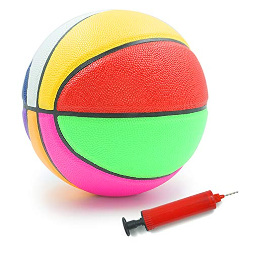 Aoneky Rubber Size 3 Basketball - Colorful Rainbow Ball for Kids Aged 3-7 Years Old, Girls Boys Mini Sport Ball Toy, Ball Pump Included