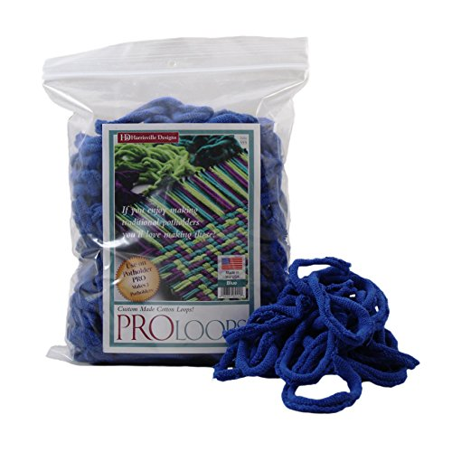 Harrisville Designs Friendly Loom Potholder Cotton Loops 10 Inch Pro Size Loops Make 2 Potholders, Weaving Crafts for Kids and Adults-Blue
