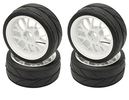 Apex RC Products 1/10 On-Road 12mm White Mesh Wheels V Tread Rubber Tires (Set of 4) #5017