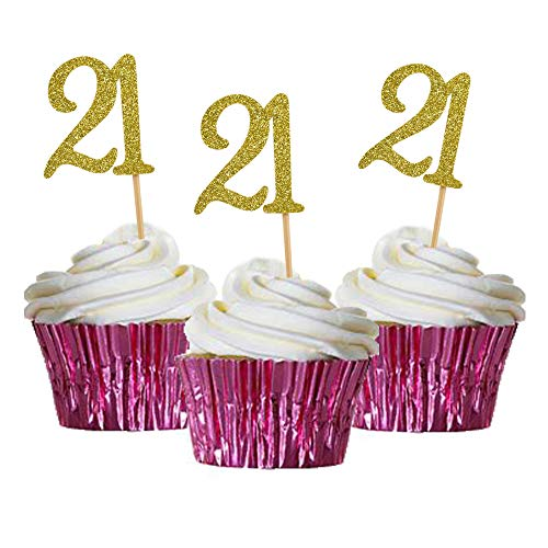 HOKPA 21st Birthday Cupcake Toppers, Gold Glitter Number 21, Adult Ceremony Birthday Celebrating Anniversary Party Decoration (24PCS)
