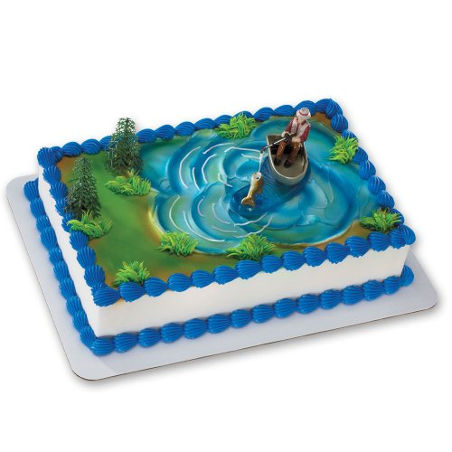 Fisherman with Action Fish DecoSet Cake Decoration