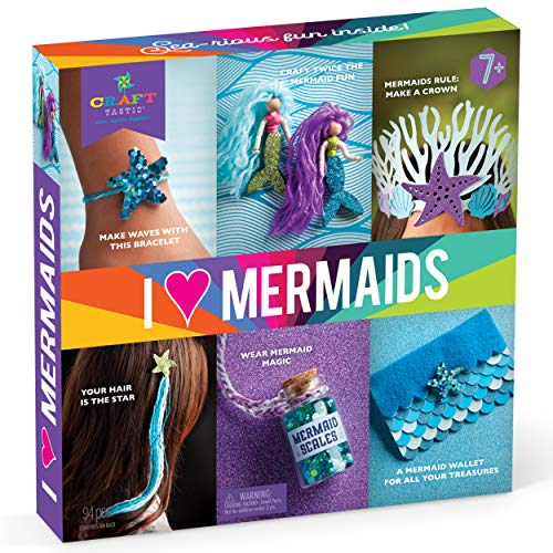 Craft-tastic – I Love Mermaids Kit – Craft Kit Includes 6 Mermaid-Themed Projects