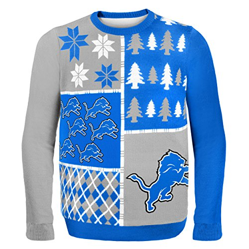 NFL Detroit Lions BUSY BLOCK Ugly Sweater, X-Large
