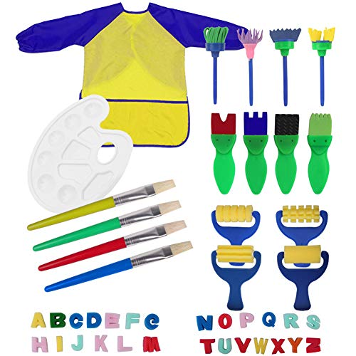 Kids Painting Drawing Tools Waterproof Art Smock Aprons,26 Alphabets,Mini Flower Sponge Brush Paint Tray Palette Set for Toddlers Early DIY Learning Toy (Yellow)