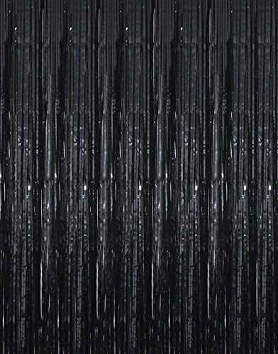 GOER 3.2 ft x 9.8 ft Black Photo Backdrop for Birthday Party Wedding Decor, 1 Pack Black Metallic Tinsel Foil Fringe Curtains Party Decorations