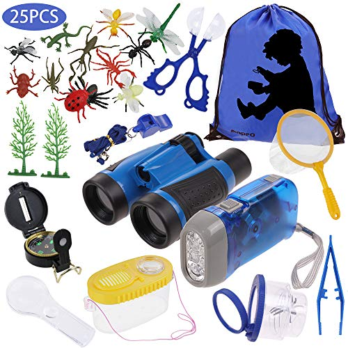 Anpro 25pcs Kids Outdoor Explorer Kit, Children Adventure Toys Gift for Boys and Girls Including Kids Telescope, Compass, Flashlight, Suitable for Over 6 Years Old