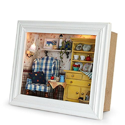 Flever Dollhouse Miniature DIY House Kit Creative Room with Furniture and Frame Type for Romantic Valentine's Gift(A Midsummer Afternoon)