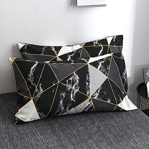 karever Black Marble Pillowcases 2 Packs, Gold Triangle Geometric Printed Pillow Cases, 100% Cotton Envelope Pillow Shams for Boys Girls, Standard Twin/Queen 20