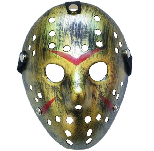 Junyulim Jason Voorhees Mask Cosplay Mask Halloween Mask for Masquerade Party Bar Cosplay Halloween(Jason Mask Copper)
