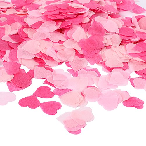 Whaline 1 Inch Heart Paper Confetti Tissue Confetti 6000 Pieces Valentines Confetti Party Table Decorations for Balloon, Wedding, Valentines Confetti Holiday, Birthday
