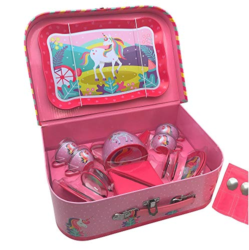 Oojami 23 Piece Childrens Pretend Tin Tea Set Including a Carrying case Unicorn Theme (Unicorn)