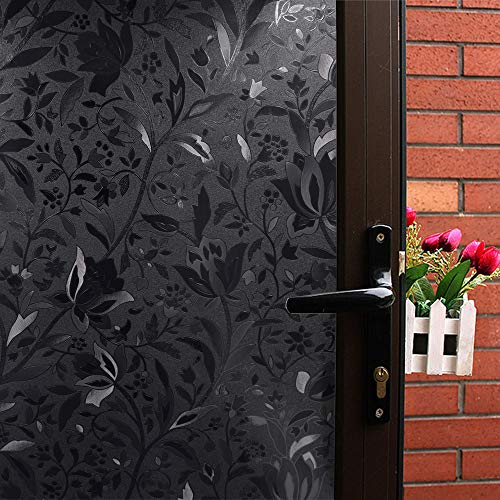 Mikomer Tulip Total Blackout Window Film,100% Light Blocking Glass Door Film,Room Darkening Window Cling,No Glue/Heat Control/Anti UV for Day Sleep & High Privacy,17.5In. by 78.7In.