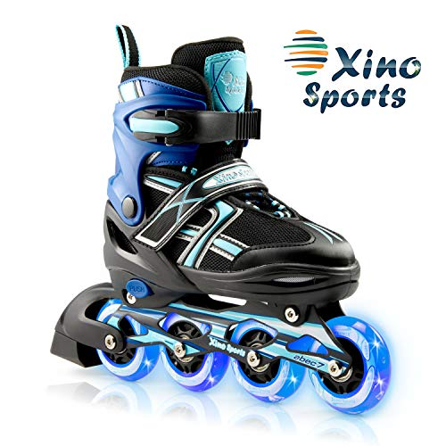 XinoSports Adjustable Children's Inline Skates for Girls & Boys with Light Up Wheels (Ages 5-20) – Roller Blades with Illuminating Wheels for Boys and Girls (Black/Aqua, Medium - 1-4)
