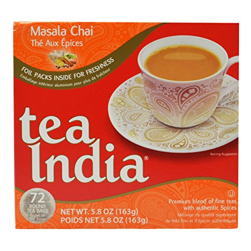 Tea India Masala Chai Tea, 72 Tagless Tea Bags, 5.8-Ounce Boxes 12 Pack