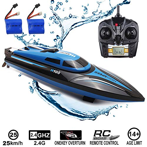 SZJJX RC Boat 2.4Ghz 25KM/H High Speed 4 Channels Remote Control Electric Racing Boat for Pools & Lakes Automatically 180� Flipping Transmitter with LCD Screen Blue