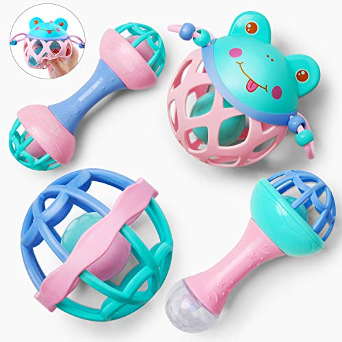 Gizmovine 4pcs Baby Rattles Newborn Toys Set, Soft Shaker Grab and Spin Rattle Musical Toy Set, Early Educational Toys for 3 6 9 12 Month Newborn Baby, Infant, Toddler, Made Without BPA