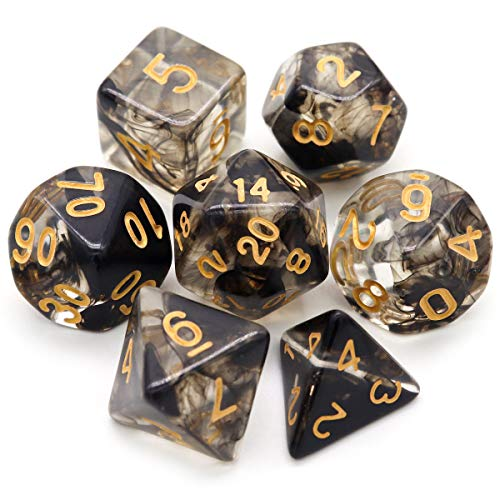Haxtec 7PCS Black DND Dice Set Polyhedral D&D Dice of D20 D12 D10 D8 D6 D4 for Dungeons and Dragons TTRPG Games-Darkness
