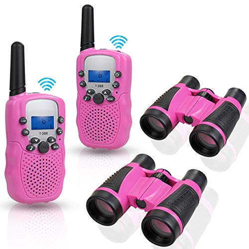 Anpro walkie talkies and Telescope Sets for Kids, 22 Channel 2 Way Radio 3 Mile Long Range Handheld Kids Walkie Talkies, Best Gifts ,Top Toys for Boy ,Girls for Outdoor Adventure Game(Pink)