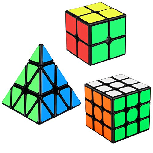 Speed Cube Set, Aitbay Cube Bundle 2x2 3x3 Pyramid Magic Puzzle Cube Toy for Kids (3 Pack)