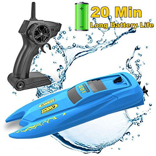 SZJJX RC Boat with Long Battery Life, Remote Control Racing Boats for Pools and Lakes, 2.4GHz 10KM/H Speed Boat Toys Electric 4 Channels for Kids Blue