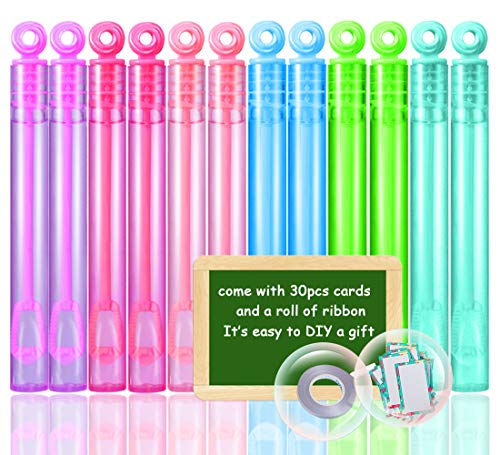 Acekid 30 Pcs Kids Mini Bubble Wands Set Includes 30 Bubble Wands and Party Cards for Kids Classroom Exchange, Party Favors, Game Prizes and Carnivals Gift