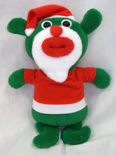 SingAMaJigs Plush Doll Christmas Figure GREEN with Santa Suit Jingle Bells