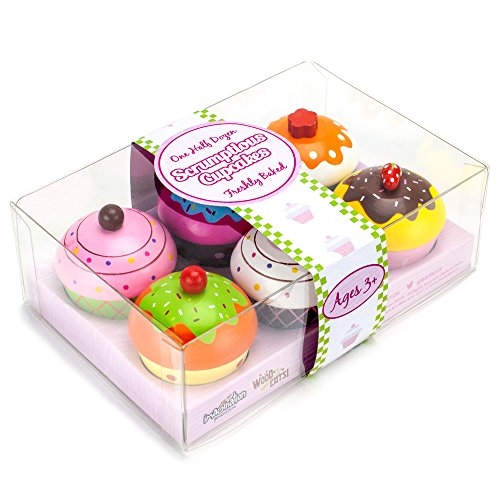 Imagination Generation Wood Eats! Scrumptious Cupcakes Dessert Set - 6 Colorful Cakes, Great for Baking Playsets, Play Kitchens and Play Food Toys