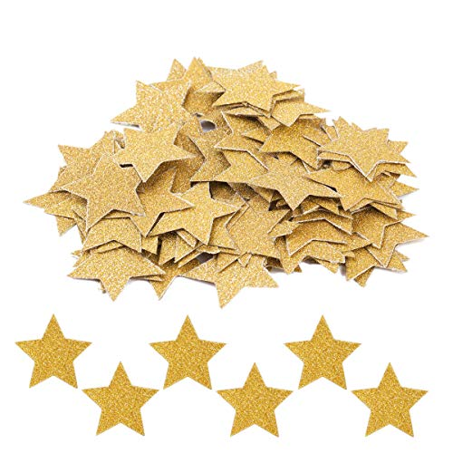 Haley Party Glitter Gold Star Table Confetti for Wedding Birthday Party Favor Decor and Table Decor (1.2 In, Double-sided, 200PCS)