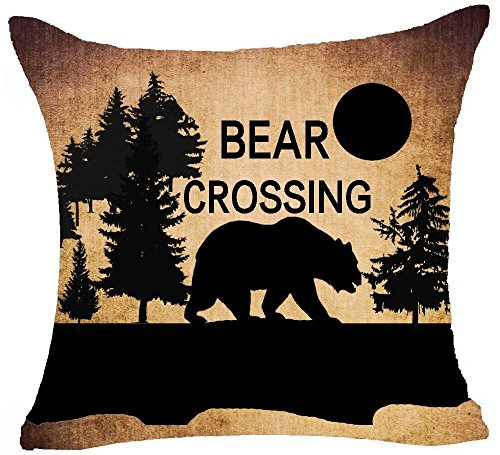Retro Vintage Background Wildlife Pine Tree Mountains Bush Black Bear Bear Crossing Cotton Linen Throw Pillowcase Personalized Cushion Cover NEW Home Office Decorative Square 18 X 18 Inches