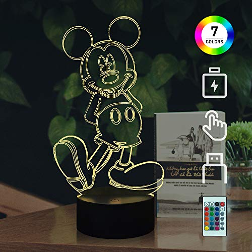 Cute Cartoon Mickey Mouse 3D Night Light LED 7 Color Illusion Table Lamp Birthday Christmas Child Kid