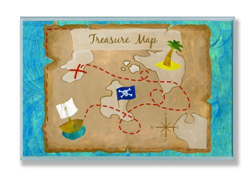 The Kids Room by Stupell Pirate's Treasure Map Rectangle Wall Plaque