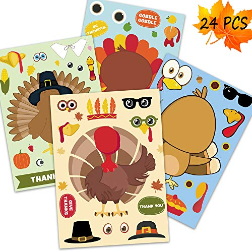 Happy Storm Thanksgiving Party Games for Kids 24 PCS Make a Turkey Stickers Thanksgiving Stickers Party Activities Make a Face Stickers Sheet DIY Party Favors for Thanksgiving Decor