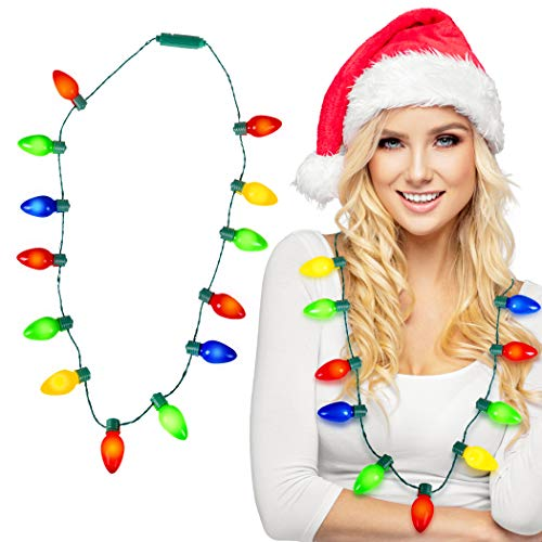 Kangaroo Deluxe Christmas Lights Necklace, Light-Up Ugly Sweater Party Favor