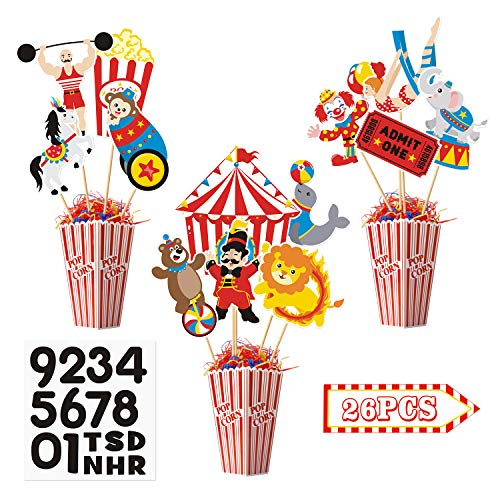 26 Pieces Carnival Cutouts Party Supplies Circus Theme Birthday Party Favors Circus Animals Clown Performers Carnival Party Decoration