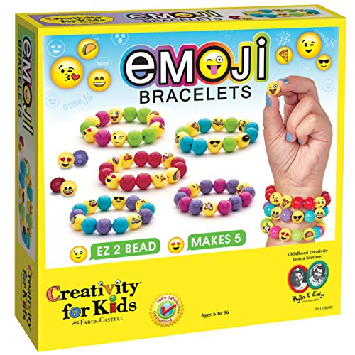 Creativity for Kids Emoji Bracelets, Makes 5 Bead Bracelets - Arts and Crafts Jewelry Making for Kids