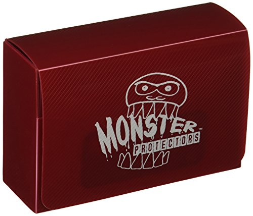 Monster Protectors Trading Card Double Deck Box with Magnetic Closure - Red (Fits Yugioh, Pokemon, Magic the Gathering Cards)