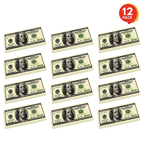 ArtCreativity 100 Dollar Bill Erasers - Set of 12 - 2.75 Inch Big Rubber Eraser with Money Replica Design - Fun Birthday Party Favors, Goodie Bag Fillers, Classroom, Student Gifts, School Supplies