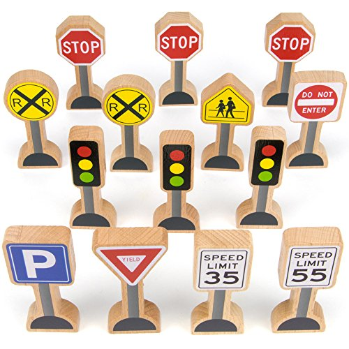 Imagination Generation 14-Piece Wooden Street Signs Playset for Kids, Compatible with All Major Train Brands, Block Sets, & Carpet Playmats