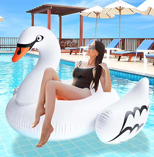 Greenco Giant Inflatable Swan Pool Float Lounger, 74.5
