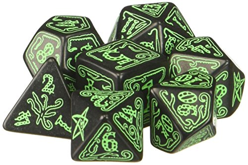 Q-Workshop Call of Cthulhu: Black and Green Dice, Set of 7