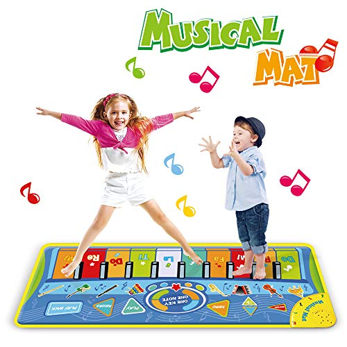 Anpro 51X18.9 inch (130X48cm) Piano Mat, Musical Keyboard Playmat,Dancing Mat Touch Play Blanket Gifts Toys for Kids
