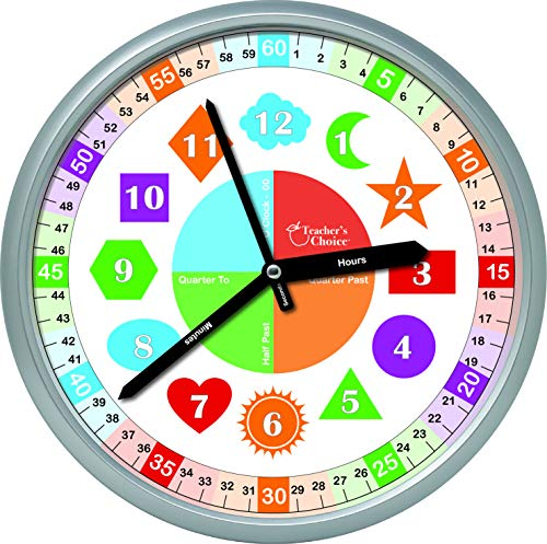 Educational Wall Clock - Silent Movement Time Teaching Clock Perfect for Teacher's Classrooms and Kid's Bedrooms, Shapes