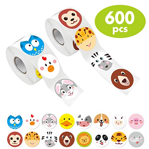 Hebayy 600 Pcs Adorable Round Face Animal Stickers in 16 Designs with Perforated Line for Kids Party Favor (Each Measures 1.5