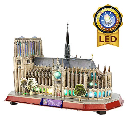 CubicFun 3D Lighting Notre Dame de Paris Puzzles for Adults Architecture Building Model Cathedral Craft Kits Toys as Birthday Gifts for Women and Men, Lighting Up Decoration at Night