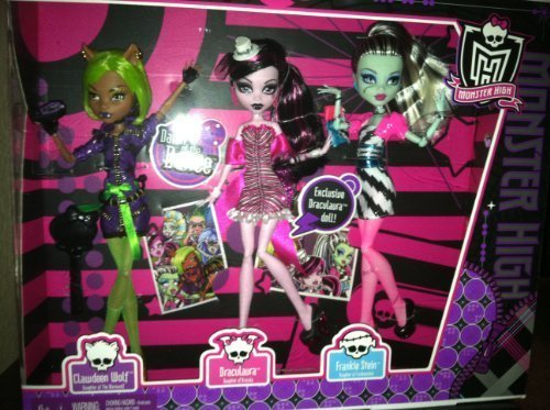 Monster High Dawn of the Dance Action Figure Doll 3Pack Clawdeen Wolf, Draculaura Frankie Stein by Mattel