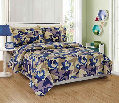 Fancy Linen Kids/Teens Sheet Set Army Camouflage Beige Taupe Blue New # Camouflage (Twin)
