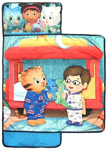 PBS Daniel Tiger Let's Make Believe Nap Mat - Built-in Pillow and Blanket Featuring Prince Wednesday & Miss Elaina - Super Soft Microfiber Kids'/Toddler/Children's Bedding (Official PBS Product)
